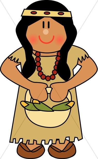 380x612 Cute Native American Woman Thanksgiving Clipart