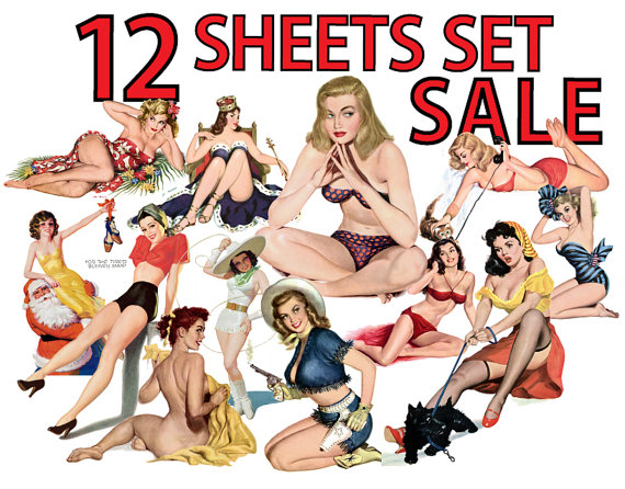 570x446 Pin Up Girls Vol.3 Png Amp Jpeg Clip Art Set Of 12 Digital Collage