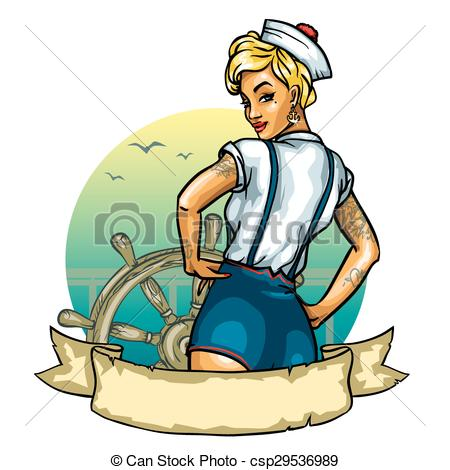 450x470 Pin Up Sailor Girl Isolated On White