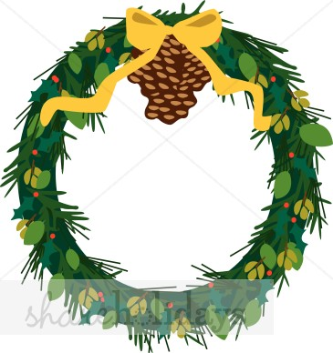 365x388 Pine Wreath With Pine Cone Christmas Wreath Clipart