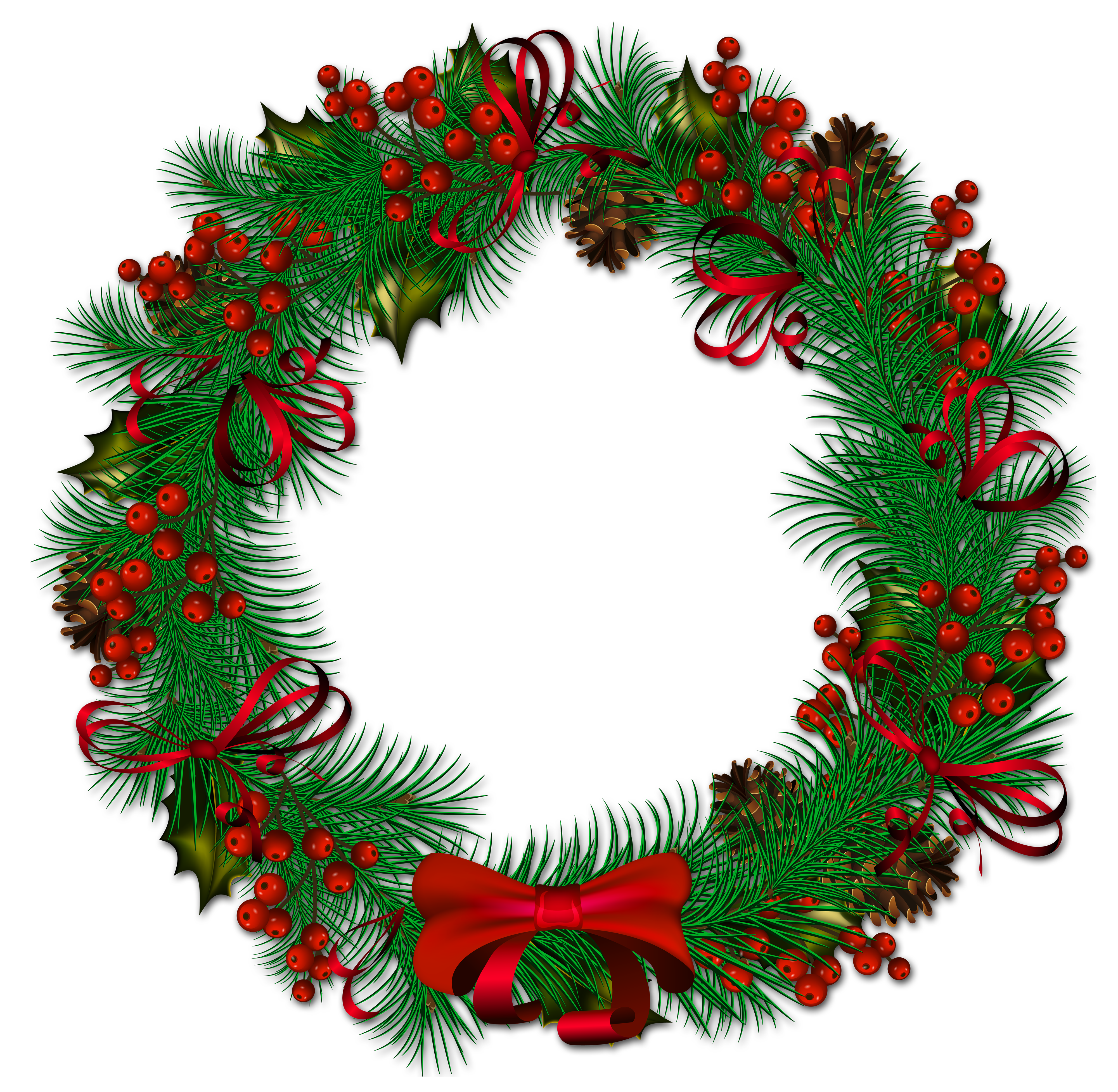 4000x3910 Transparent Christmas Pinecone Wreath With Red Ribbon Clipart