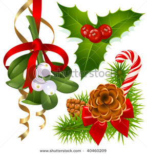 287x300 Christmas Pine Cones, Mistletoe And Holly Clip Art Image