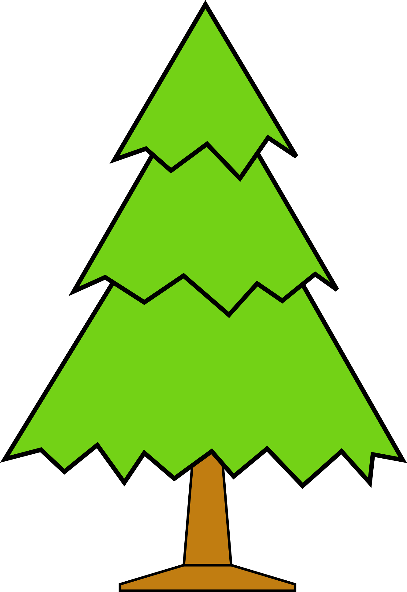 1331x1935 Clipart Christmas Tree Outline