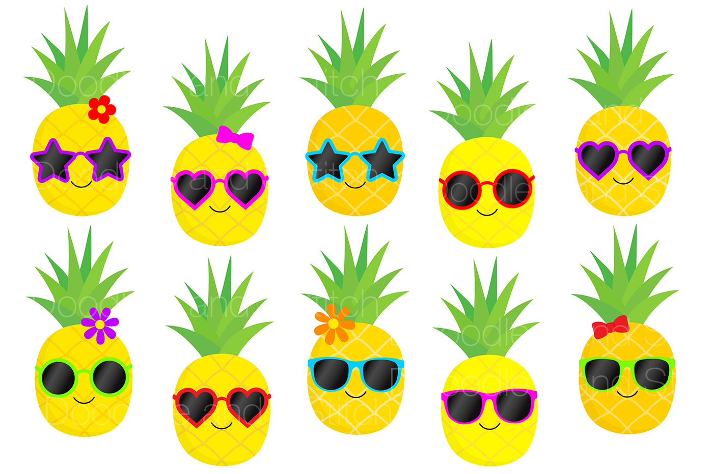 1400x932 Funky Pineapple Clipart Set By Doodle Art