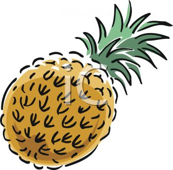 350x345 Picture Of A Cartoon Pineapple In A Vector Clip Art Illustration