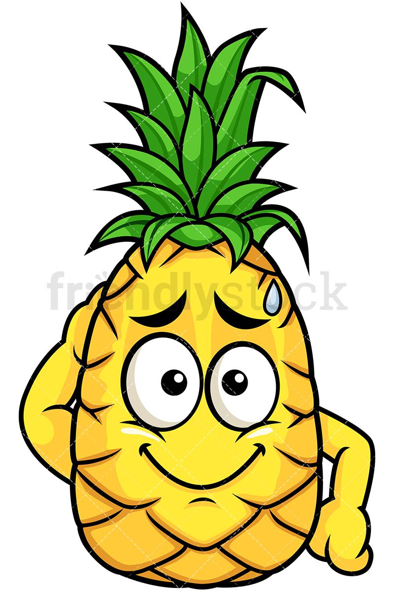 800x1200 Pineapple Feeling Sorry Cartoon Vector Clipart