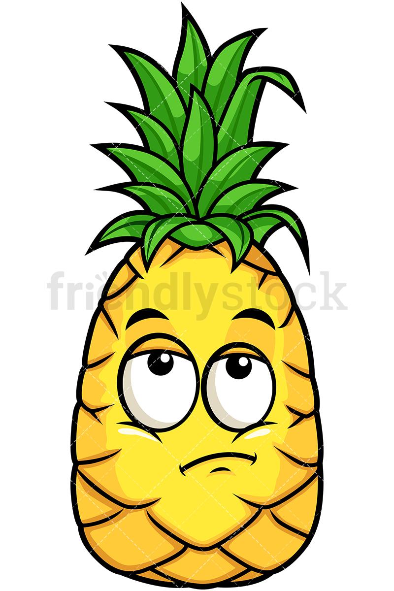 800x1200 Pineapple Rolling Eyes Cartoon Vector Clipart