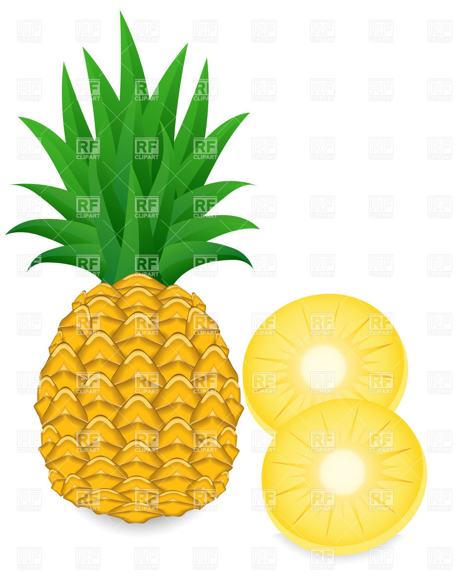 956x1200 Pineapple And Slice Royalty Free Vector Clip Art Image