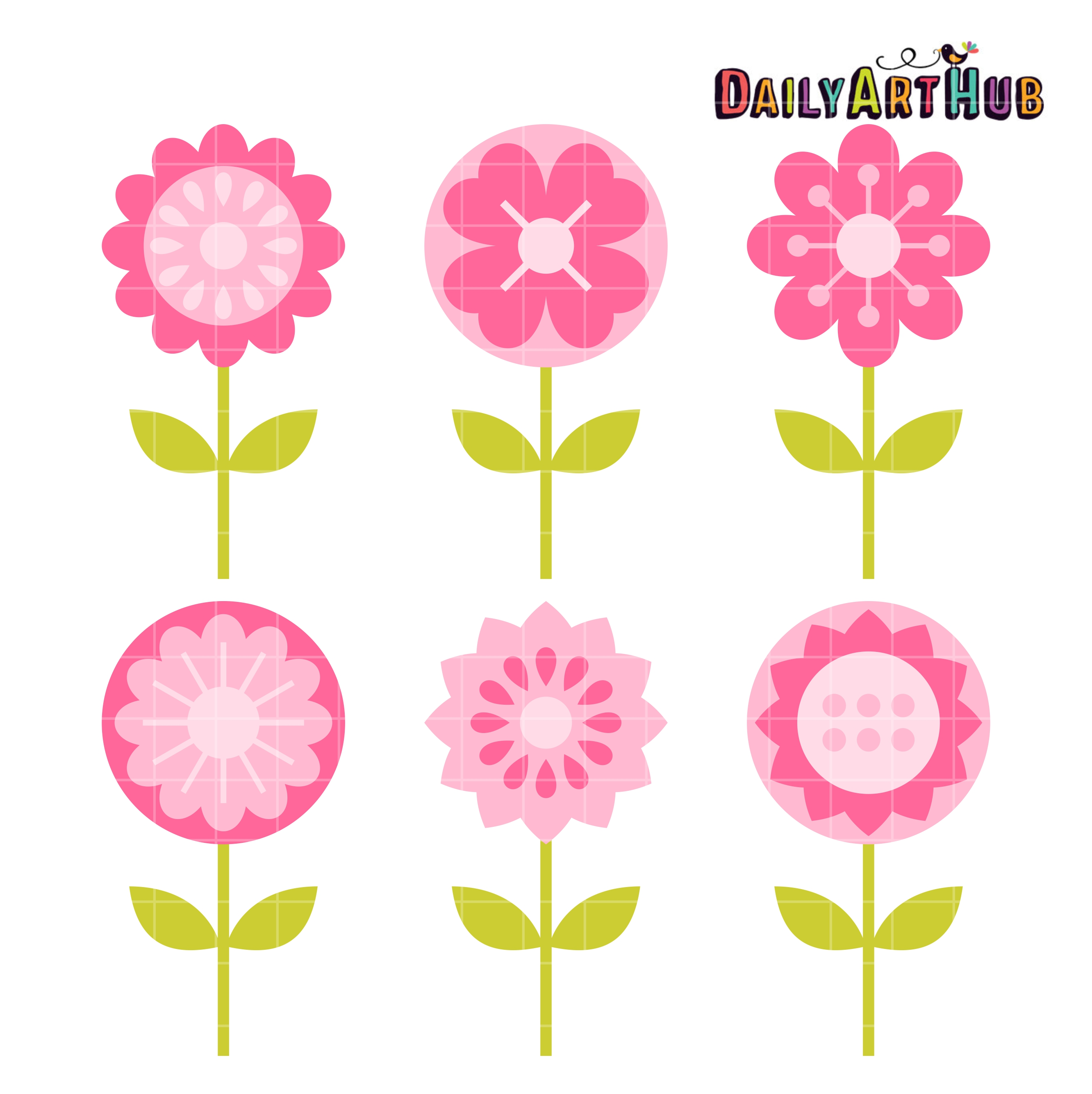 2664x2670 Pink Flowers Clip Art Set Daily Art Hub Free Clip Art Everyday