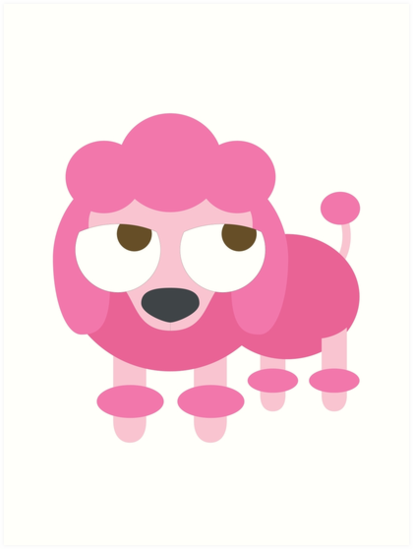 413x549 Pink Poodle Dog Emoji Thinking Hard And Hmm Face Art Prints By