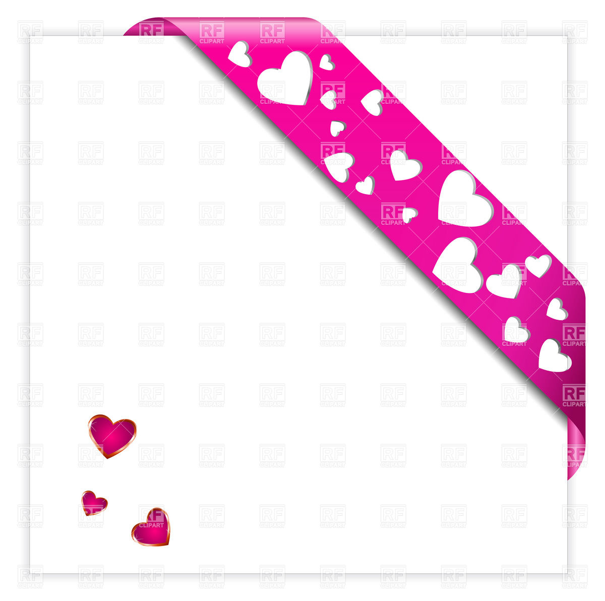 1200x1192 Heart Shaped Perforated Valentine Pink Corner Ribbon Vector Image
