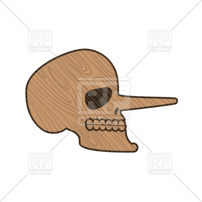 400x400 Wooden Skull Pinocchio Royalty Free Vector Clip Art Image