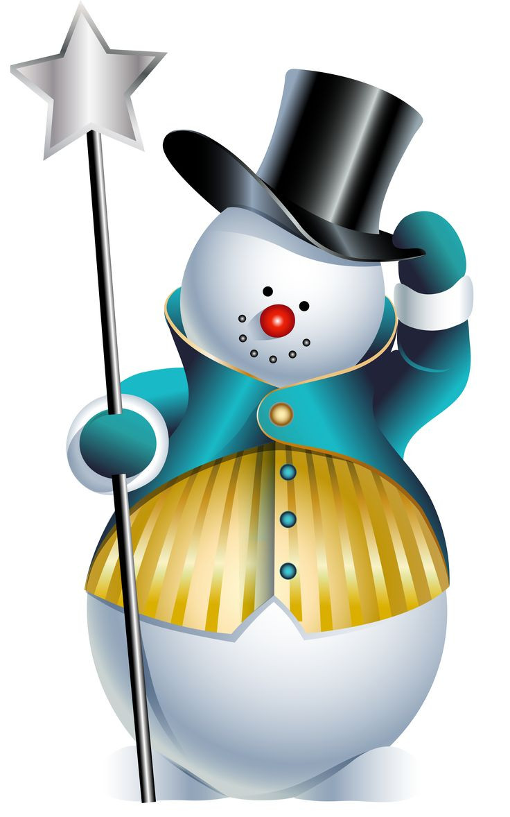 736x1178 Cute Snowman With Scarf Hat And Snowflakes Vector Clip Art
