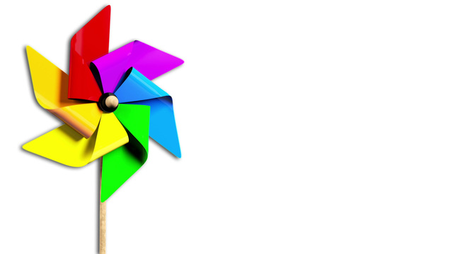 640x360 Rainbow Spinning Pinwheel In The Wind With Alpha Stock Animation