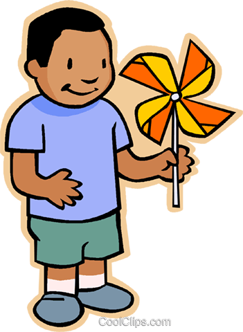351x480 Boy With Pinwheel Royalty Free Vector Clip Art Illustration