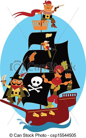 293x470 Pirate Ship. Cartoon Pirate Ship With Cute Pirates And A Parrot