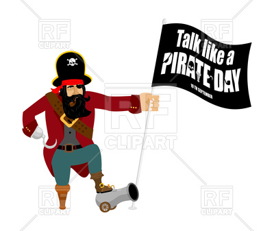 400x337 International Talk Like A Pirate Day. Pirate With Flag. Royalty