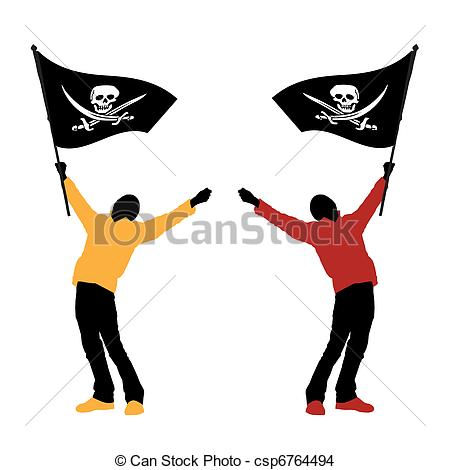 450x470 Man Holding A Pirate Flag, Vector Illustration Eps Vector