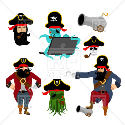 400x400 Pirate Characters Set Royalty Free Vector Clip Art Image