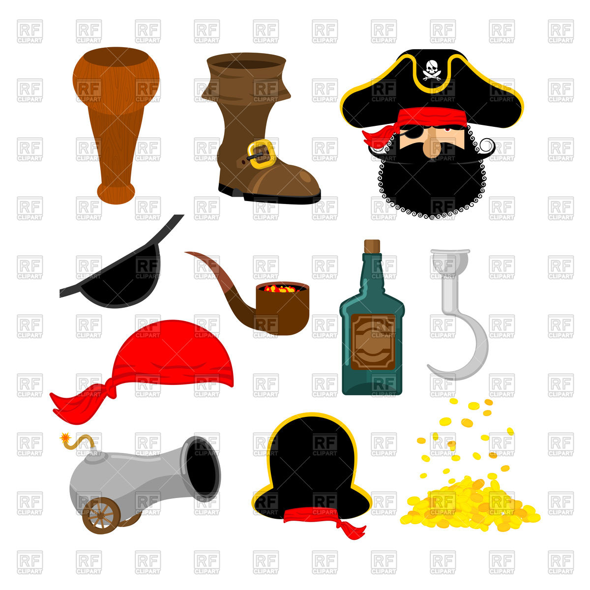 1200x1200 Pirate Objects Set Royalty Free Vector Clip Art Image