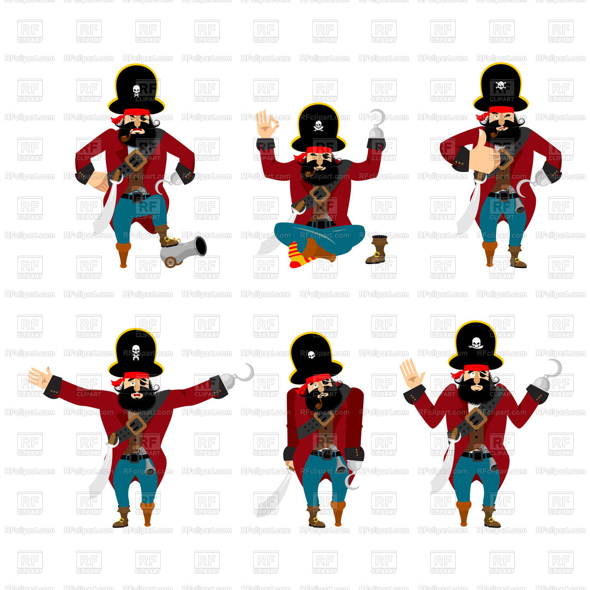 1200x1200 Pirate Poses Royalty Free Vector Clip Art Image