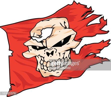 443x388 Red Pirate Skull Flag Premium Clipart