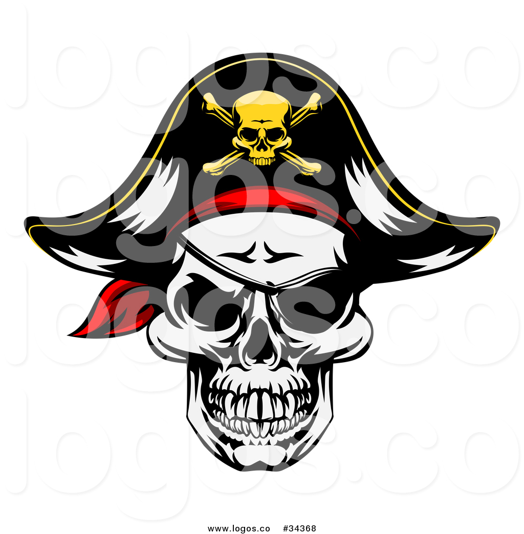 1024x1044 Vector Logo Of A Pirate Skull Wearing A Patch And Captain Hat By