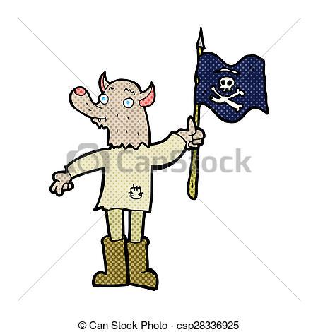 450x470 Cartoon Wolf Man Waving Pirate Flag Clip Art