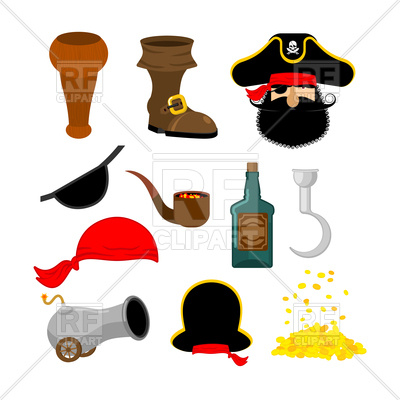 400x400 Pirate Objects Set Royalty Free Vector Clip Art Image