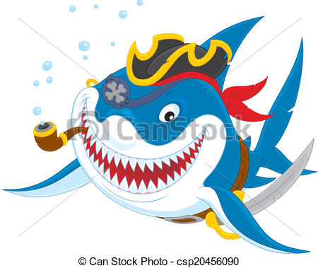 450x379 Shark Pirate. Great White Shark With A Pirate Saber, Hat