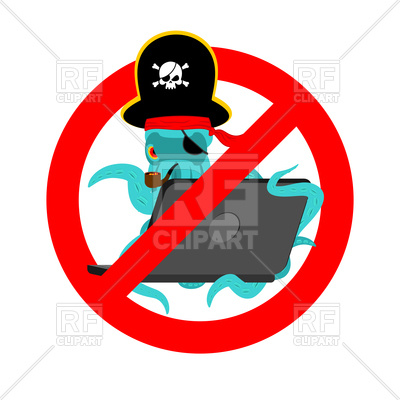 400x400 Stop Web Pirate Sign. Octopus And Laptop. Royalty Free Vector Clip
