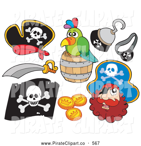 600x620 Vector Clip Art Of A Digital Collage Of Fun Pirate Items (Hooks