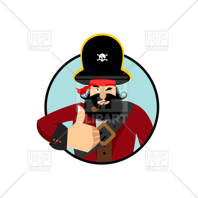 400x400 Cartoon Pirate Thumbs Up Royalty Free Vector Clip Art Image