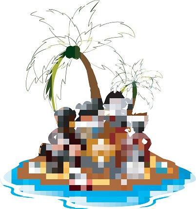 402x428 Pirate In The Treasure Island Premium Clipart