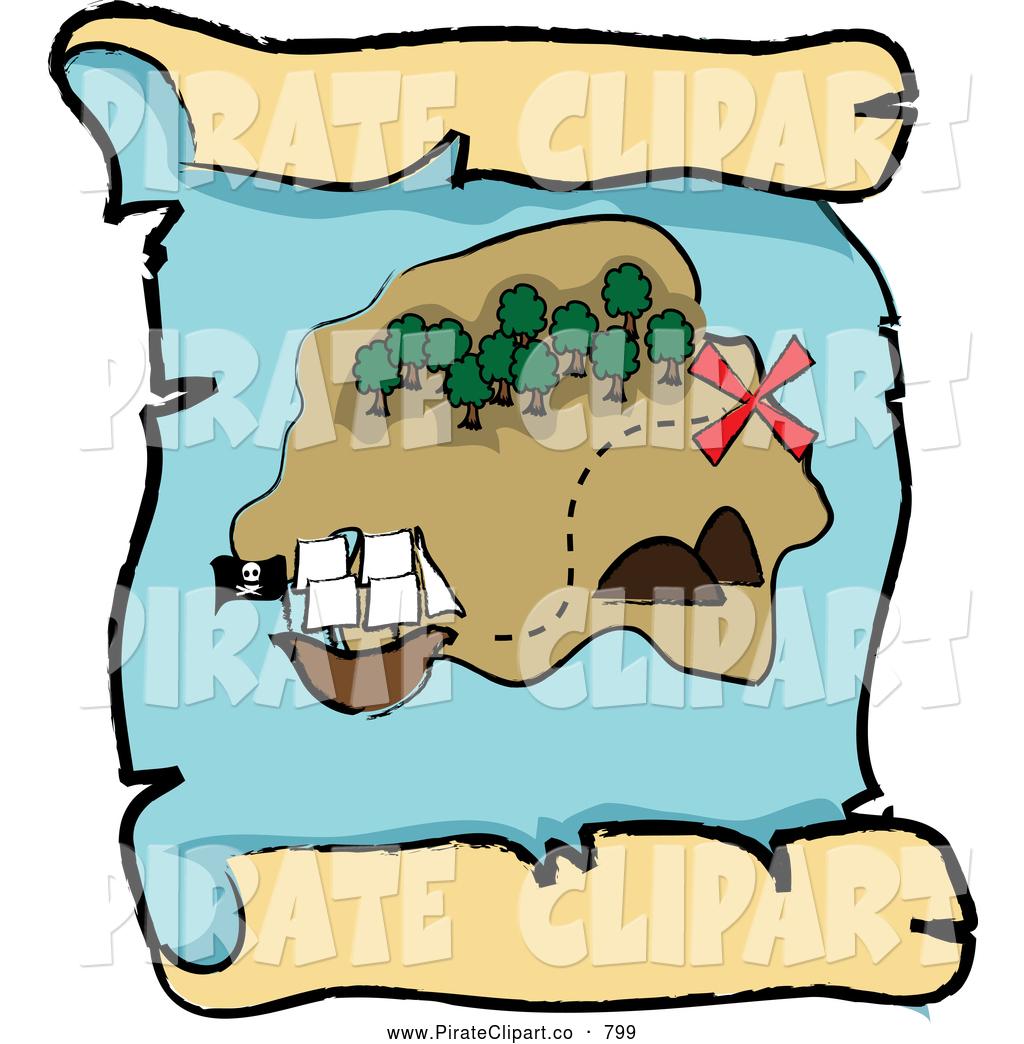 1024x1044 Vector Clip Art Of A Pirate Ship Near An Island On A Scroll