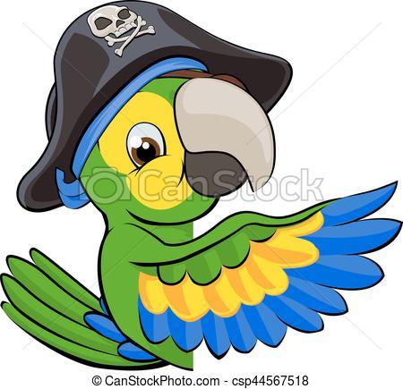 450x435 Cartoon Parrot In Pirate Hat. A Cartoon Parrot Bird Vector Clip
