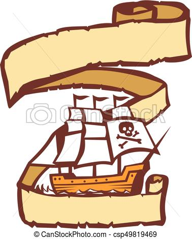 378x470 Pirate Ship Sailing Scroll Retro. Illustration Of A Pirate Clip