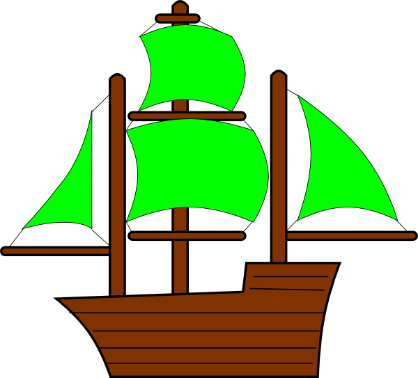 600x543 Green Pirate Ship Clip Art
