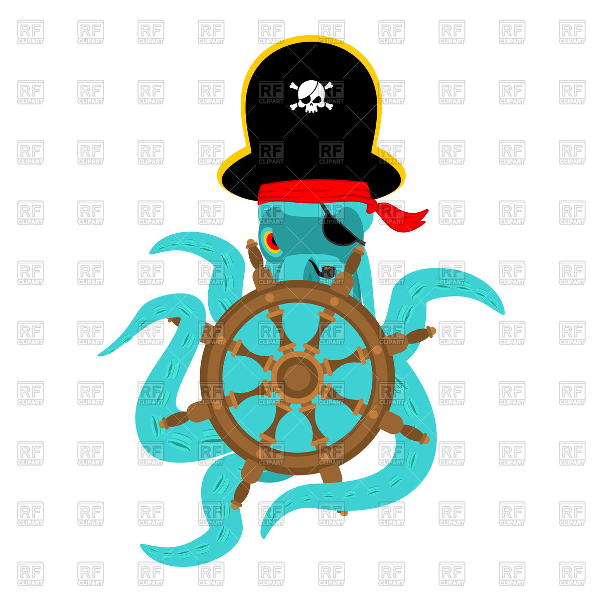 1200x1200 Octopus Pirate And Handwheel Or Ship Wheel Royalty Free Vector