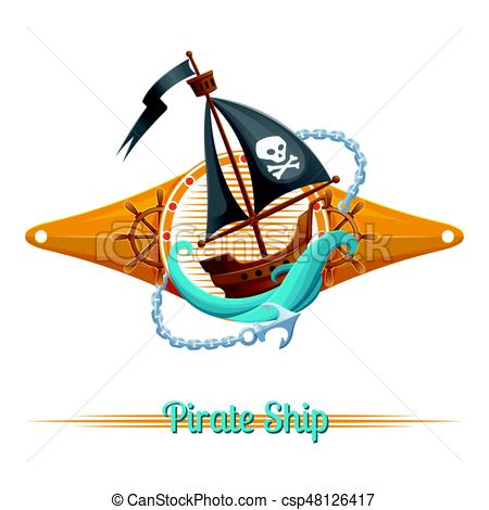 450x470 Pirate Ship Label. Sea Emblem With Pirate Ship On White Vector