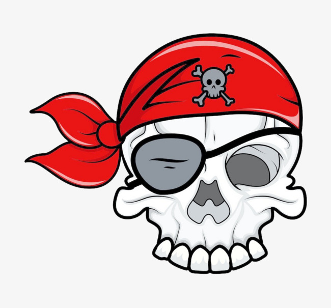 650x605 Pirate Skull With Red Turban, Pirate, Skull, Element Png Image