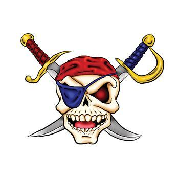 350x350 Pirate Skull And Cross Swords Temporary Tattoo For Halloween