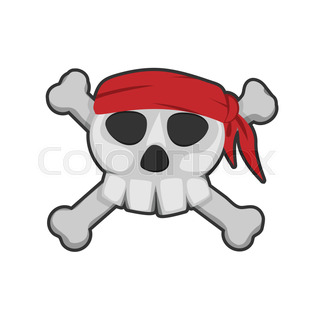 320x320 Pirate Skull. Vector Clip Art Illustration. All In A Single Layer
