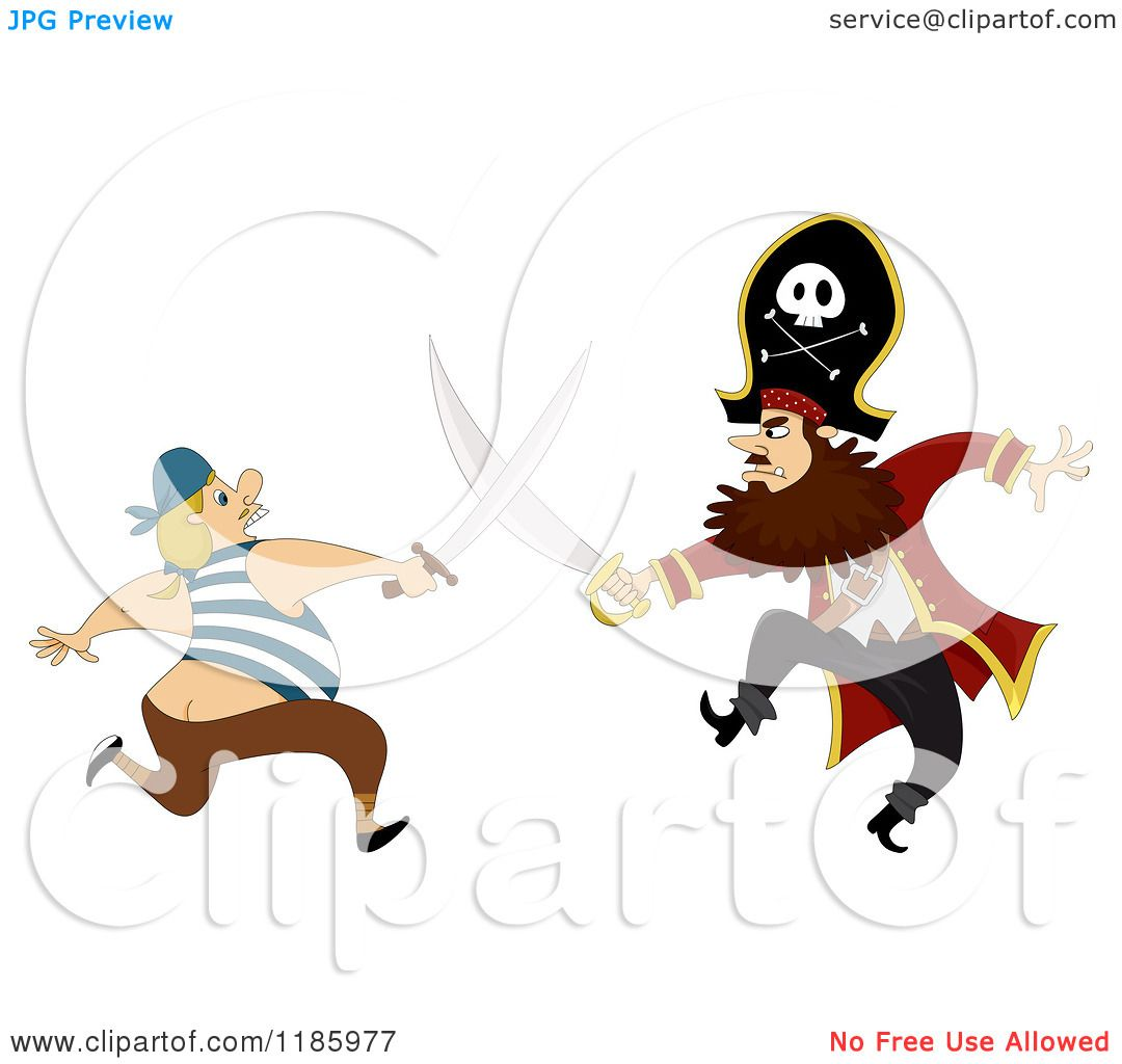 1080x1024 Cartoon Of A Pirate Captain Sword Fighting A Man