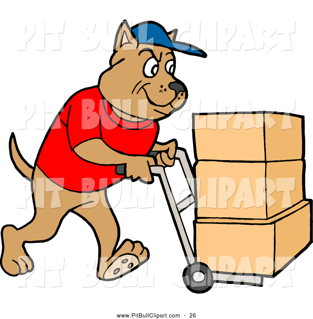 1024x1044 Clip Art Of A Pit Bull Delivery Dog Using A Dolly To Push Moving
