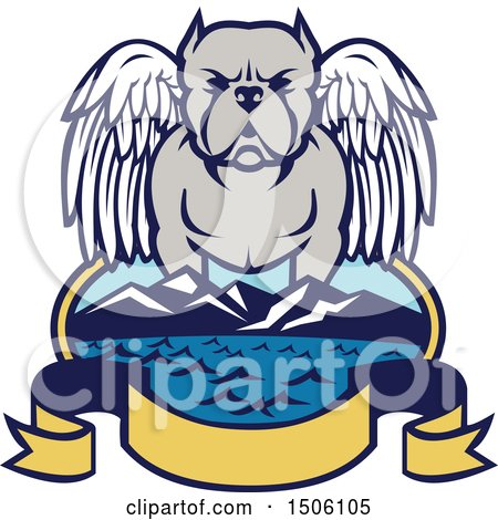 450x470 Clipart Of A Cute Happy Gray And White Pit Bull Dog Sitting