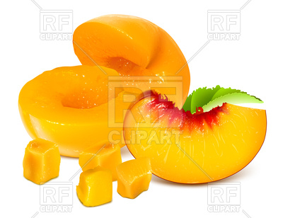 400x308 Peaches Without Pits And Ripe Peach Slice Royalty Free Vector Clip