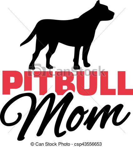 425x470 Pit Bull Mom With Dog Silhouette Clipart Vector
