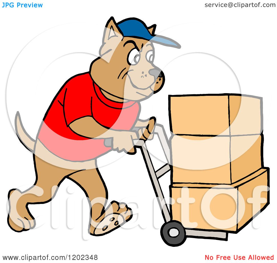 1080x1024 Cartoon Of A Pit Bull Dog Using A Dolly To Push Moving Boxes