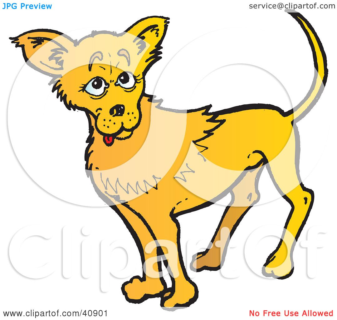 1080x1024 Clipart Illustration Of A Friendly Yellow Chihuahua Dog By Snowy